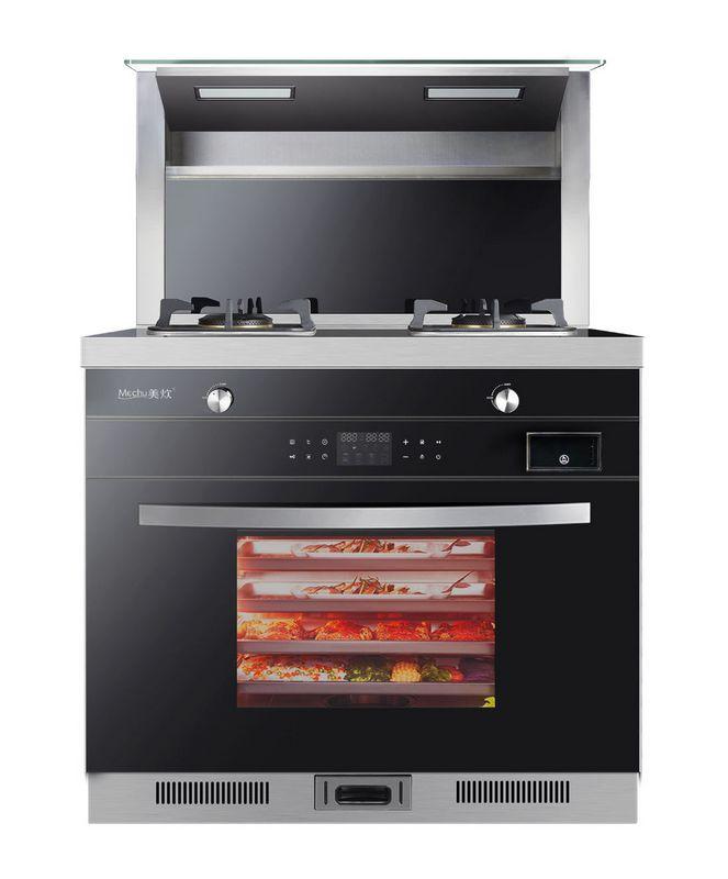 美炊蒸烤箱一体集成灶下排侧吸烟灶自动清洗