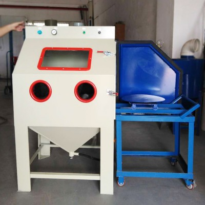 青岛小转台喷砂机 重型金属去氧化皮箱式喷砂机