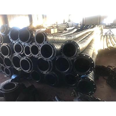 生产大口径高压钢丝编织胶管8寸吸水排水带碳钢法兰